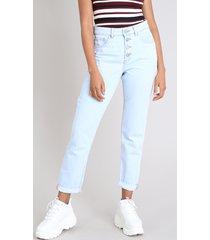calça jeans feminina mom com botões azul claro