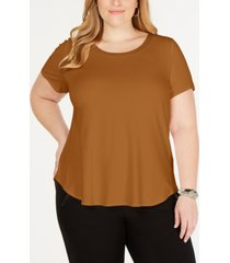 alfani plus satin-trim high-low t-shirt, created for macy's