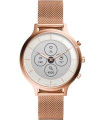 fossil tech charter rose gold-tone stainless steel mesh bracelet hybrid smart watch 42mm