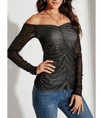 yoins malla negra plisada diseño camiseta de manga larga con hombros descubiertos