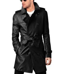 men leather coat winter long  leather coat genuine real leather trench coat-uk42