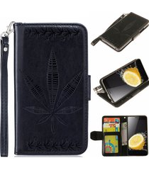 lenovo a6000 case, a6000 plus case,xyx [black] embossed maple leaf pu leather wa