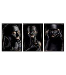 kit 3 quadro  oppen house coleção noir goridhe moldura preta decoração