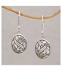sterling silver dangle earrings 'pebbles & leaf' (indonesia)