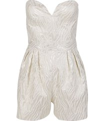 white and gold cotton blend lana jumpsuit