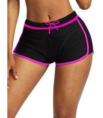 contrast trim drawstring swim shorts