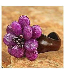 garnet and leather cuff bracelet, 'doi inthanon blossom' (thailand)