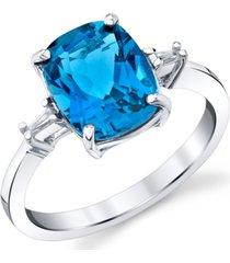 blue topaz (3-3/4 ct. t.w.) & diamond (1/20 ct. t.w.) diamond statement ring in sterling silver