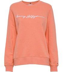 annie relaxed c-nk sweatshirt ls sweat-shirt trui oranje tommy hilfiger