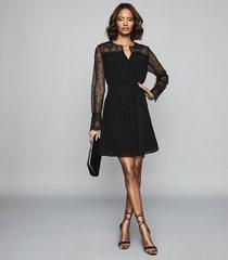 reiss callista - lace detail belted mini dress in black, womens, size 12