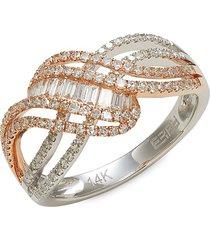 effy women's 14k two-tone gold & diamond twisted ring - size 7