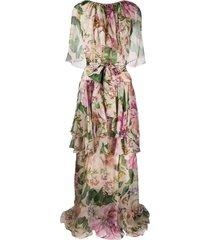 dolce & gabbana floral print draped evening dress - neutrals