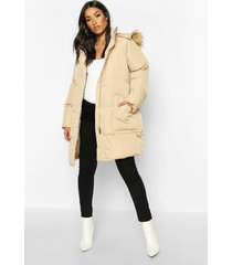 maternity faux fur trim padded jacket, caramel