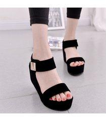 sandalias zapatos cuña plataforma tiras verano -negro