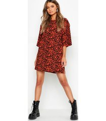 oversized leopard ribbed shift dress, terracotta