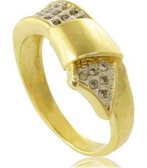 anel laço com detalhe em ródio 3rs semijoias dourado