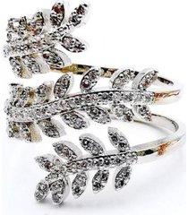 anillo micropave hojas baño rodio cristal blanco sara k
