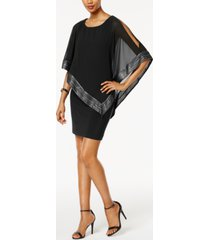 sl fashions metallic-trim capelet sheath dress