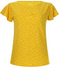 camiseta mujer flores cafes color amarillo, talla m
