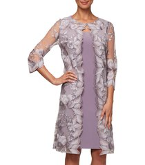 women's alex evenings embroidered mock jacket cocktail dress
