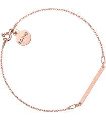 bransoletka z różowym złotem z delikatną prostokątną blaszką