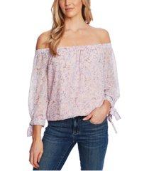cece off-the-shoulder floral-print top
