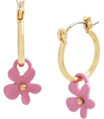 betsey johnson flower charm hoop earrings