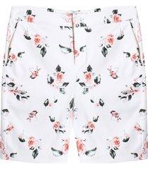 bermuda con estampado floral color blanco, talla 6