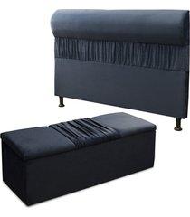 cabeceira mais calã§adeira ba㺠casal queen 160cm para cama box vitã³ria suede azul - ds mã³veis - azul marinho - dafiti