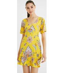 v-neckline dress print - yellow - xl