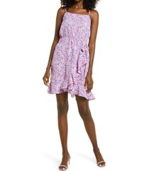 women's vero moda henna floral wrap front satin dress, size x-small - purple