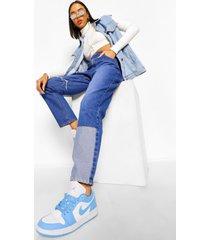onbewerkte skinny jeans met patches en franjes, blue