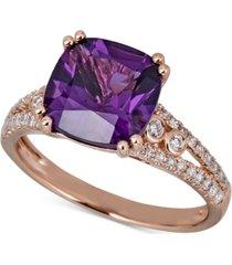 amethyst (2 ct. t.w.) & diamond (1/3 ct. t.w.) ring in 14k rose gold