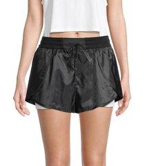 blanc noir women's delilah flutter shorts - black white - size l