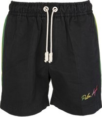 palm angels man black shorts with multicolored side bands
