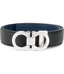 salvatore ferragamo reversible and adjustable gancini belt - blue