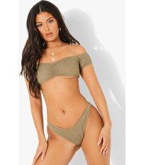 mix & match gekreukeld hoog uitgesneden bikini broekje, light khaki