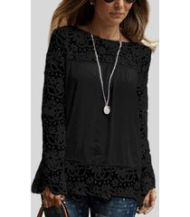 black floral lace pattern stitching chiffon t-shirt