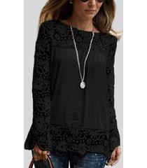 encaje floral negro patrón camiseta de gasa con costuras