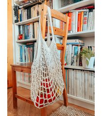 torba paryżanka ze sznurka biała/ ecru