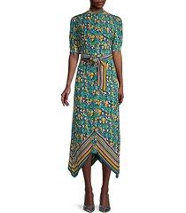 kendyl printed puff-sleeve midi dress