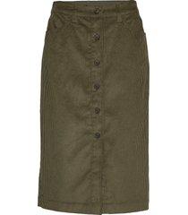 corduroy button-front midi skirt knälång kjol grön gap