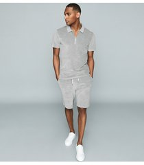 reiss akin - cotton-blend towelling shorts in grey, mens, size xxl