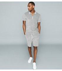 reiss akin - cotton-blend towelling shorts in grey, mens, size xxl