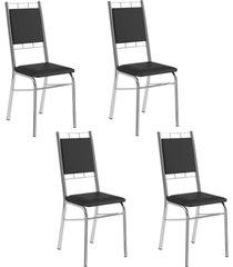 conjunto 4 cadeiras tubo cromado napa preta carraro - incolor - dafiti