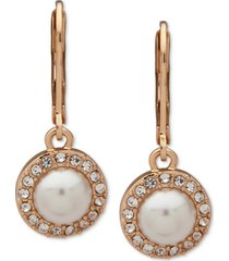 anne klein gold-tone pave & imitation pearl halo drop earrings