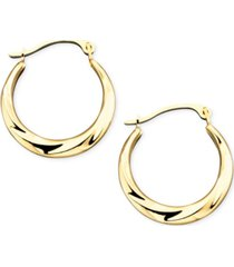 10k gold small polished swirl hoop earrings