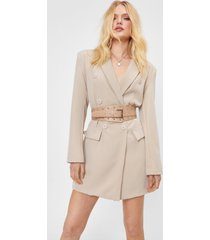 womens stud riddance oversized faux leather belt - nude