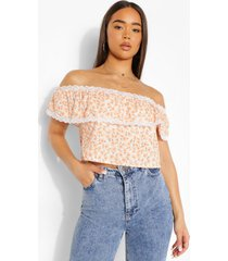 off shoulder crop top, yellow