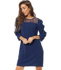 vestido azul etam encaje